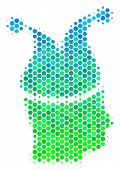 Halftone Round Spot Joker Pictogram. Pictogram In Green And Blue Color Tones On A White Background.  poster