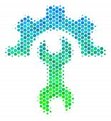 Halftone Circle Service Tools Pictogram. Pictogram In Green And Blue Shades On A White Background. V poster