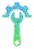 Halftone Round Spot Service Tools Pictogram. Pictogram In Green And Blue Color Tones On A White Back poster