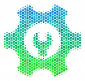 Halftone Round Spot Service Tools Pictogram. Pictogram In Green And Blue Color Tinges On A White Bac poster