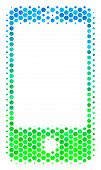 Halftone Circle Smartphone Pictogram. Pictogram In Green And Blue Color Tinges On A White Background poster