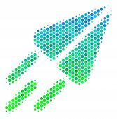 Halftone Round Spot Space Ship Pictogram. Pictogram In Green And Blue Color Tinges On A White Backgr poster
