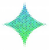 Halftone Circle Sparkle Star Pictogram. Pictogram In Green And Blue Color Tones On A White Backgroun poster