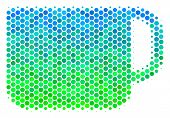 Halftone Dot Tea Cup Pictogram. Pictogram In Green And Blue Color Tints On A White Background. Vecto poster