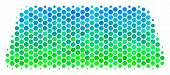 Halftone Round Spot Treasure Brick Pictogram. Pictogram In Green And Blue Color Tinges On A White Ba poster