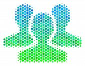 Halftone Dot Users Pictogram. Pictogram In Green And Blue Color Hues On A White Background. Vector C poster