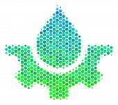 Halftone Circle Water Service Pictogram. Pictogram In Green And Blue Color Tinges On A White Backgro poster