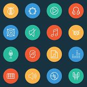 Audio Icons Line Style Set With Tambourine, Piano, Drum And Other Headphones Elements. Isolated Vect poster