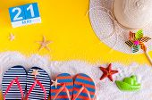 May 21st. Image Of May 21 Calendar With Summer Beach Accessories. Spring Like Summer Vacation Concep poster