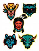 Mascot Icon Illustration Set Of Popular North American Sports Or Sporting Icons Like The Cowboy Or O poster