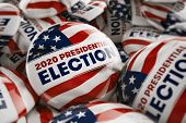 3D illustration of a closeup shot of one presidential election button in focus in between many other poster