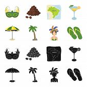 Brazil, Country, Umbrella, Beach . Brazil Country Set Collection Icons In Black, Cartoon Style Vecto poster