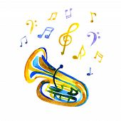 Watercolor Copper Brass Band Tuba On White Note Background poster