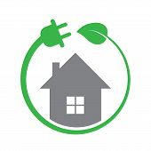 Energy Efficiency, Eco House Icon. Ecology Electric Power Sign. Nature Environment Electricity Techn poster