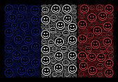 France State Flag Concept Organized Of Glad Smiley Elements. Vector Glad Smiley Items Are Composed I poster