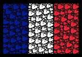 French National Flag Composition Organized Of Mouse Head Pictograms. Vector Mouse Head Objects Are C poster