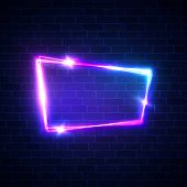 Night Club Neon Sign On Brick Wall Background. Blank 3d Retro Frame With Shining Neon Lights. Disco  poster