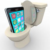 stock photo of outdated  - A smart phone with apps being flushed down a toilet symbolizing frustration with poor service - JPG