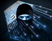 hacker with black balaclava portrait