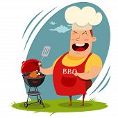 Man In A Chef Hat Cooking A Whole Chicken On The Barbecue. Vector Cartoon Illustration Of A Happy Fa poster