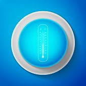 Celsius And Fahrenheit Meteorology Thermometers Measuring Heat And Cold Icon Isolated On Blue Backgr poster