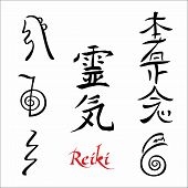 Reiki.  The Sacred Signs. Hieroglyphs.  Spiritual Energy. Alternative Medicine. Esoteric. Vector. poster