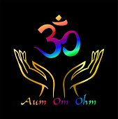 Aum Om Ohm Symbol. A Spiritual Sign. Esotericist. Vector Illustration. poster