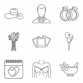 Life Companion Icons Set. Outline Set Of 9 Life Companion Vector Icons For Web Isolated On White Bac poster