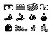 Financial Icon Set. Money Icons. Money Stack, Coin Stack, Piggy Bank, Wallet With Money Icons. poster