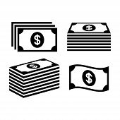 Stack Of Dollar Money Icons. Banknote Icon Set. Pile Of Money Icons. Money Stack. poster