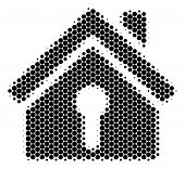 Halftone Dot Home Keyhole Icon. Pictogram On A White Background. Vector Mosaic Of Home Keyhole Icon  poster