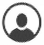 Halftone Circle Rounded User Portrait Icon. Pictogram On A White Background. Vector Pattern Of Round poster