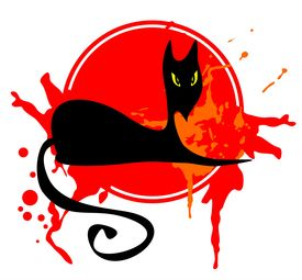 image of black cat  - The black stylized cat in the red grange frame - JPG