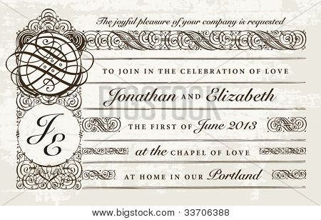 Vector Distressed Victorian Wedding Invitation. Easy to edit. Perfect for invitations or announcements.