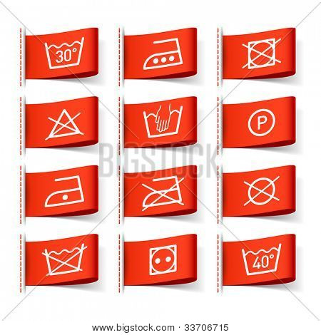 Laundry symbols on clothing labels. Vector.