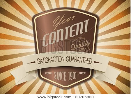 Old brown vector round retro vintage label on sunrays background