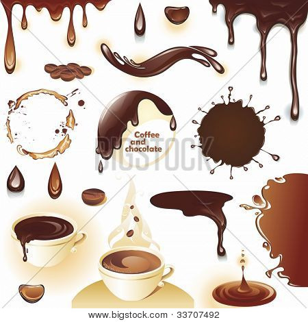 Coffee and chocolate. Set of drops and splashes. Vector illustration.