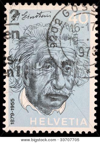 SWITZERLAND - CIRCA 1973: A stamp printed in Switzerland showing Albert Einstein, circa 1973