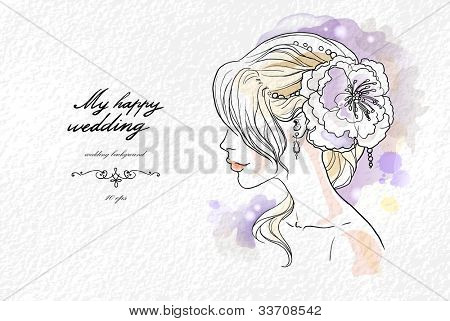 Wedding watercolor portrait of the bride with space for text