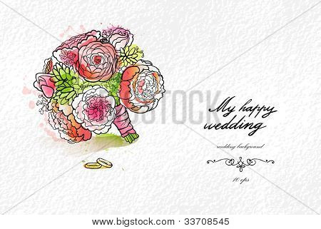 Wedding watercolor bouquet and rings with space for text
