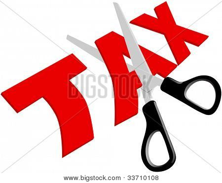 Pair of scissors cuts unfair too high taxes in half