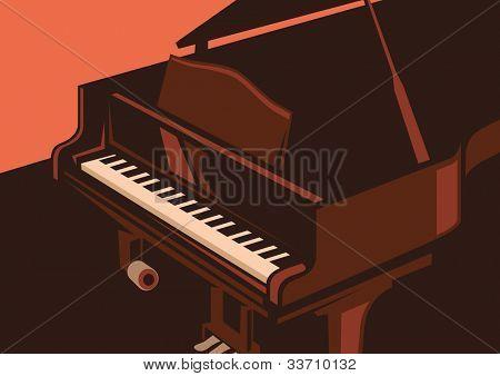 Ilustración del piano. Ilustración del vector.