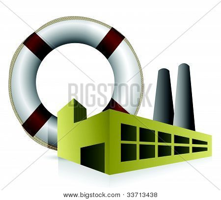 SOS factory concept illustration design over white background