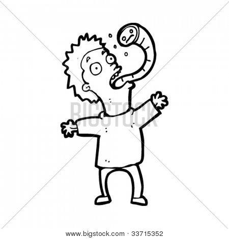 cartoon man with parasitic worm