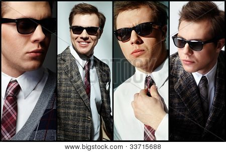 Collage of elegant man in smart clothes
