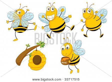 Illustration of a set of funny bees - EPS VECTOR format also available in my portfolio.