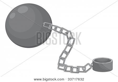 Illustration of a ball and chain - EPS VECTOR format also available in my portfolio.
