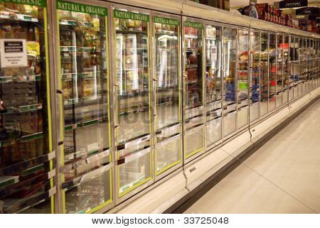 frozen section of supermarket