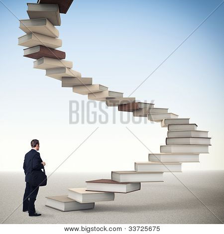 young businessman and 3d book stair