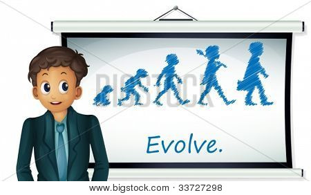 Businessman presenting evolution on board